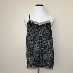 Anthropologie Eloise Lace Trim Printed Tank